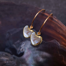 Zoetwater parel oorbellen Golden Hope 25 mm Heart Brown Pearl