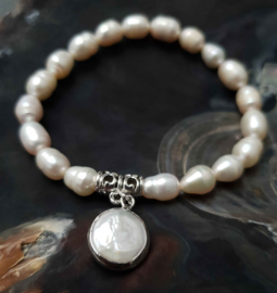 Zoetwater parel armband Silver Pearl Coin