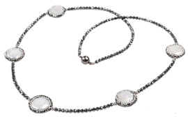 Zoetwater parelketting met edelstenen Bright Coin Pearl Hematite