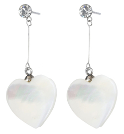 Parelmoeren oorbellen Bling Long White Shell Heart