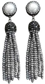 Zoetwater parel oorbellen Bright Pearl Silver Crystal Tassel