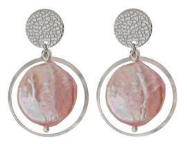 Zoetwater parel oorbellen Flow Pink Coin Silver Pearl