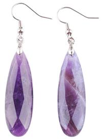 Edelstenen oorbellen big Long Drop Amethyst