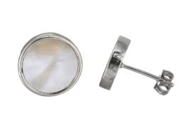 Parelmoeren oorbellen Shell White Stud Round
