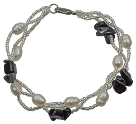 Zoetwater parel met edelstenen armband Twine Pearl Black Agate