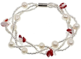 Zoetwater parel met edelstenen armband Twine Pearl Red Agate