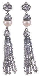 Zoetwater parel oorbellen Bright Big Pearl Silver Crystal Tassel