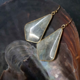 Edelstenen oorbellen Labradorite Gold Flyer