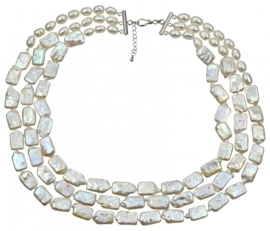 Zoetwater parelketting Three Rectangle Pearl W
