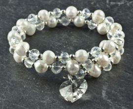 Zoetwater parel wikkelarmband Wrap Pearl Crystal Heart