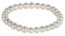 Zoetwater parel armband Button White