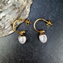 Edelstenen oorbellen Golden Hope 15 mm Clear Crystal