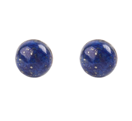 Edelstenen oorbellen Lapis Lazuli Half Round