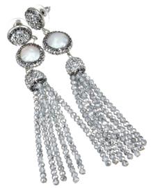 Zoetwater parel oorbellen Bright Coin Pearl Silver Crystal tassel