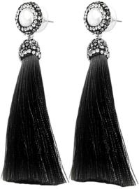 Zoetwater parel oorbellen Bright Pearl Black Tassel