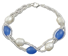 Zoetwater parel armband Twine Pearl Heaven Blue