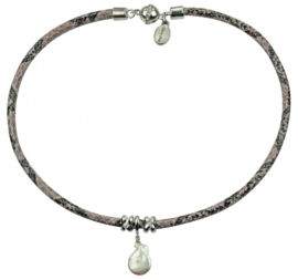 Zoetwater parelketting Reptile White Coin