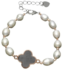 Zoetwater parel armband Pearl Four Leaf Clover Black