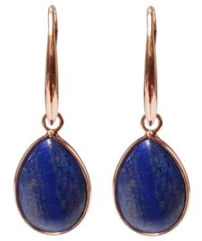 Edelstenen oorbellen Gold Drip Lapis Lazuli