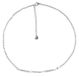 Cadeau set edelstenen ketting Morse Code Love Silver Hematite