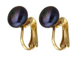 Zoetwater parel clips oorbellen Gold Black Clip Pearl 10 mm