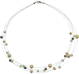 Zoetwater parelketting Jill Multi Color