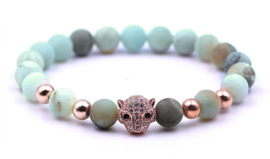 Edelstenen armband Frozen Amazonite Rose Panther