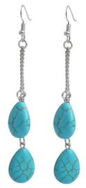 Edelstenen oorbellen Double Drop Turquoise