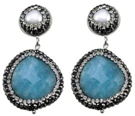Zoetwater parel oorbellen met edelsteen Bright Pearl Blue Jade