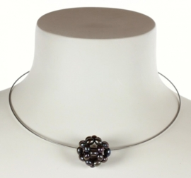 Zoetwater parelketting Black Ball