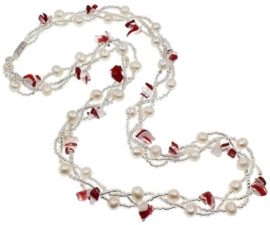 Zoetwater parelketting met edelstenen Twine Pearl Red Agate