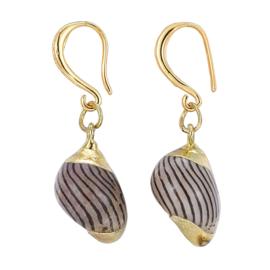 Schelpen oorbellen Gold Spiral Shell