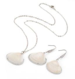 Schelpen set White Cockel Shell Silver
