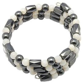 Edelstenen en parelmoeren armband Magnetite Shell Wrap