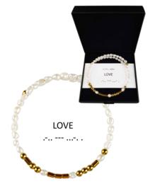 Cadeau set zoetwater parel armband Morse Code LOVE Pearl Gold