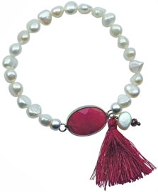 Zoetwater parel armband met edelsteen Pearl Red Agate Tuft