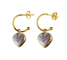 Zoetwater parel oorbellen Golden Hope 15 mm Heart Brown Pearl