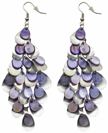 Parelmoeren oorbellen Purple Shell Drops