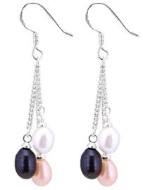 Zoetwater parel oorbellen Multi Dangling Pearl