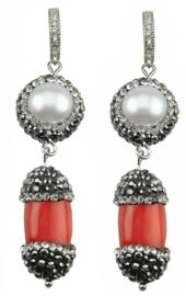 Zoetwater parel oorbellen met koraal Bright Pearl Coral Silver