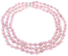 Zoetwater parelketting Three Row Pink Barok Pearls