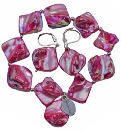 Parelmoeren set van armband en oorbel Shell AB Pink