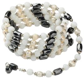 Zoetwaterparel en edelstenen armband Pearl Magnetite Wrap