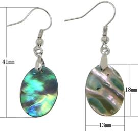 Parelmoeren oorbellen Abalone Light Oval