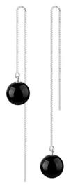 Edelstenen oorbellen Black Agate Chain