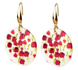 Parelmoeren oorbellen Gold Shell Poppies