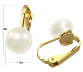 Zoetwater parel clips oorbellen Gold White Clip Pearl 10 mm