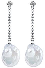 Zoetwater parel oorbellen Bling Dangling Coin Pearl