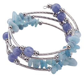 Edelstenen armband Four Loops Wrap Blue Gemstones