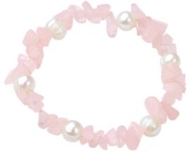 Zoetwaterparel en edelstenen armband Pearl Rose Quartz Chip